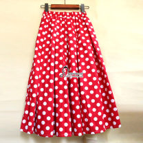 skirt Summer of 2018 Average size Mid length dress Sweet Natural waist Pleated skirt Dot Type A 18-24 years old 30% and below other cotton Pleat, fold, print college