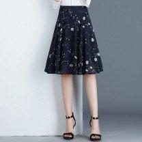 skirt Summer 2020 XXS,XS,S,M,L,4 white , red , blue , black , Decor 1 , White dots on black background , Black spots on white background longuette High waist A-line skirt Type A Chiffon Pleated, zipper