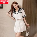 Dress Summer 2020 White two-piece set, black two-piece set S,M,L,XL,2XL Short skirt Two piece set Short sleeve Sweet Admiral middle-waisted Solid color Socket Pleated skirt routine Others 18-24 years old Type A Other Pastes cloth, splicing, three-dimensional decoration, zipper YQX20070501 other
