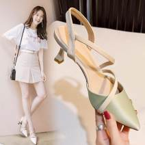Sandals 34,35,36,37,38,39 Off white, light green, yellow, pink PU Ocnltiy Sharp point Fine heel High heel (5-8cm) Spring 2021 Trochanter Sweet Color matching Adhesive shoes Youth (18-40 years old) daily Back space Low Gang Hollow Microfiber skin Microfiber skin Baotou sandals Shaving