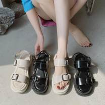 Sandals 35,36,37,38,39,40 Off white, black PU Ocnltiy Barefoot Muffin bottom Middle heel (3-5cm) Summer 2021 Flat buckle college Solid color Adhesive shoes Youth (18-40 years old) polyurethane daily Back space Low Gang Lateral space PU Microfiber skin Flat buckle Shaving