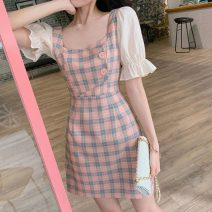 Dress Summer 2021 S,M,L,XL,2XL Miniskirt singleton  Short sleeve Sweet square neck High waist lattice Socket A-line skirt puff sleeve 18-24 years old Type A Other / other 31% (inclusive) - 50% (inclusive) polyester fiber