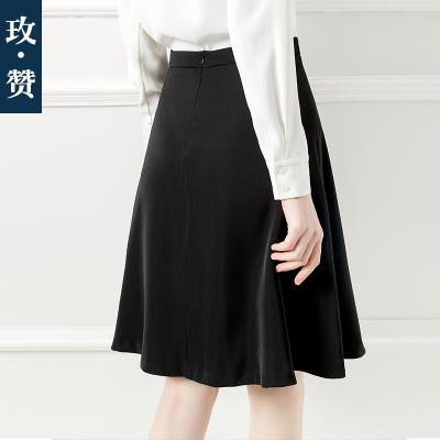 skirt Summer of 2019 XS,S,M,L,XL,XXXL,XXL White, apricot, Navy, black, haze blue, caramel commute High waist A-line skirt Solid color Type A 25-29 years old other Wave, zipper Ol style 301g / m ^ 2 (including) - 350g / m ^ 2 (including)