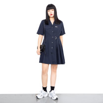 Dress Summer 2021 Navy Blue L,XL,2XL,3XL,4XL Short skirt singleton  Short sleeve commute tailored collar High waist Solid color Single breasted A-line skirt routine 18-24 years old Type A Korean version Button one nine zero six 51% (inclusive) - 70% (inclusive) polyester fiber