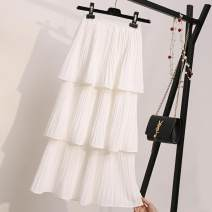 skirt Summer of 2019 Average size Black skirt, white skirt, white three-tier skirt, black three-tier skirt, white four tier skirt, black four tier skirt Versatile High waist A-line skirt Solid color Type A 25-29 years old Chiffon fold