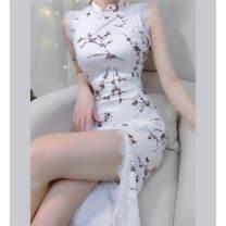cheongsam Spring 2021 S,M,L,XL Decor Sleeveless High slit Round lapel