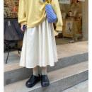 skirt Summer 2021 S M L Ginger milk white iron salt grey long skirt for women Mid length dress High waist Xuanxian Road