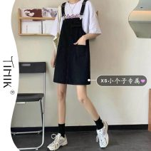 Dress Summer 2021 White black S M L XS Short skirt singleton  Sleeveless commute Loose waist Solid color Socket One pace skirt straps 18-24 years old Type H tIHIk Korean version More than 95% Denim other Other 100%