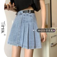 skirt Summer 2021 S M L XS Blue black Short skirt commute High waist Pleated skirt Solid color Type A 18-24 years old More than 95% tIHIk other Korean version Other 100%