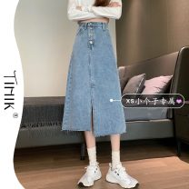 skirt Summer 2021 S M L XS Black light blue Mid length dress commute High waist Denim skirt Solid color Type A 18-24 years old More than 95% tIHIk other Korean version Other 100%