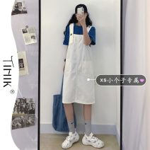 Dress Summer 2021 White strap skirt XS S M L longuette commute other High waist Solid color other other straps 18-24 years old Type A tIHIk Korean version Splicing More than 95% other other Other 100%
