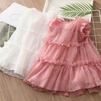 Dress female Other / other Other 100% summer other other qz5857 Class B 2, 3, 4, 5, 6, 7, 8, 9, 10, 11, 12, 13, 14 years old White, pink 90cm,100cm,110cm,120cm,130cm,140cm
