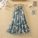 skirt Summer 2021 Average size longuette commute High waist Ruffle Skirt Decor Type A 18-24 years old More than 95% Chiffon Ocnltiy Bow, print Korean version