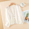 Wool knitwear Summer 2021 One size fits all White, apricot, light green, black three quarter sleeve singleton  Cardigan other More than 95% have cash less than that is registered in the accounts Thin money easy V-neck Solid color Single breasted Ocnltiy Button