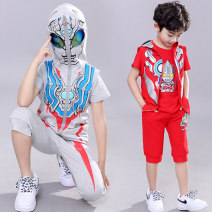 suit Ultraman (mother and infant) 105cm,110cm,120cm,130cm,140cm,150cm male summer Cartoon Short sleeve + pants 3 pieces Thin money There are models in the real shooting Zipper shirt No detachable cap Cartoon animation cotton friend Learning reward U038A11531 Class B Chinese Mainland Foshan City