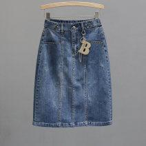 skirt Summer 2021 25,26,27,28,29,30 wathet Middle-skirt Versatile High waist Denim skirt Solid color Type H 35-39 years old 91% (inclusive) - 95% (inclusive) Denim Ocnltiy cotton Folds, pockets