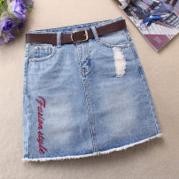 skirt Summer 2021 S. M, l, XL, 2XL, the above suggested sizes are for reference only Blue, light blue, light blue skirt Short skirt Retro Denim skirt Solid color Type A 25-29 years old 51% (inclusive) - 70% (inclusive) Denim Ocnltiy cotton Holes, hand worn, folds, pockets