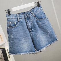Women's large Summer 2021 blue trousers singleton  commute easy thin Korean version Denim printing and dyeing Ocnltiy shorts