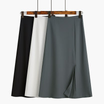 skirt Summer 2021 S,M,L White, black, greyish green longuette commute High waist A-line skirt Solid color Type A 18-24 years old 51% (inclusive) - 70% (inclusive) Ocnltiy polyester fiber Korean version