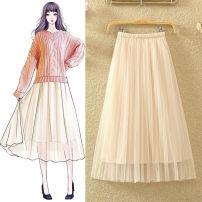 skirt Summer 2021 Skirt length 68 cm [2 layers + lining], skirt length 78 cm [2 layers + lining], skirt length 88 cm [2 layers + lining] longuette Versatile High waist Pleated skirt Solid color Type A Ocnltiy Pleat, web