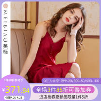 Nightdress American Standard 020755 bright jujube (19mm heavy silk) 160(M) 165(L) 170(XL) 175(XXL) sexy camisole pajamas Middle-skirt summer Solid color youth V-neck silk Button decoration More than 95% silk 200g and below Summer 2021 Mulberry silk 100%