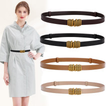 Belt / belt / chain Double skin leather White, black, red, coffee, khaki, brown, caramel female belt grace Single loop Middle age, youth, youth a hook Geometric pattern soft surface 1.8cm alloy Heavy line decoration 1.8 couplet