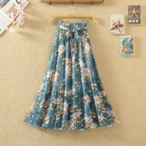 skirt Summer 2021 Average size Mid length dress commute High waist Ruffle Skirt Decor Type A 18-24 years old Chiffon Ocnltiy other Bow, print Korean version