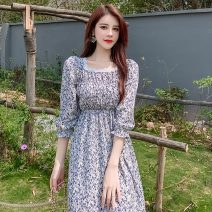 Women's large Summer 2021 L XL S M Dress singleton  commute elbow sleeve Decor Korean version square neck Medium length other Princess sleeve 18-24 years old 96% and above Medium length Other 100% Pure e-commerce (online only) other