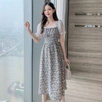 Women's large Summer 2021 Picture color L S M Dress singleton  commute Socket Short sleeve Broken flowers Korean version square neck Medium length other puff sleeve Polygonatum 18-24 years old 96% and above longuette Other 100% Pure e-commerce (online only)