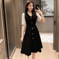 Women's large Summer 2020 Picture color S M L XL Dress singleton  commute Socket Short sleeve Solid color Korean version V-neck Medium length other Polygonatum 25-29 years old Button Medium length Other 100% Pure e-commerce (online only) other