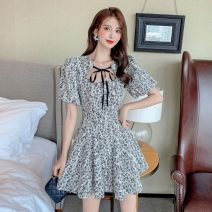 Women's large Summer 2021 Picture color S M L XL Dress singleton  commute Socket Broken flowers Korean version square neck have cash less than that is registered in the accounts bishop sleeve Polygonatum 18-24 years old Short skirt Other 100% Pure e-commerce (online only) Princess Dress