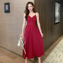 Dress Spring 2021 Red and black S M L XL longuette singleton  Sleeveless commute V-neck High waist Solid color Socket A-line skirt Others 18-24 years old Type A Polygonatum Korean version Open back button with ruffle More than 95% other other Other 100% Pure e-commerce (online only)