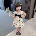 Dress female 80cm,90cm,100cm,110cm,120cm,130cm Cotton 96% other 4% summer Korean version Short sleeve love cotton Princess Dress Class A Chinese Mainland Zhejiang Province Huzhou City