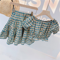 suit Other / other lattice 7(90cm),9(100cm),11(110cm),13(120cm),15(130cm) female summer Korean version Short sleeve + skirt 2 pieces Socket nothing lattice children Expression of love 2 years old, 3 years old, 4 years old, 5 years old, 6 years old