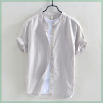 shirt Yereisurpsy Youth fashion routine stand collar Short sleeve easy Other leisure Four seasons R30142 youth Flax 55% cotton 45% Youthful vigor Solid color Linen Non iron treatment Button decoration M,L,XL,2XL,3XL,4XL R16-o-gray, e89-b-white, f27-a-khaki, f61-e-sky blue, u56 navy blue, E34 color Pu