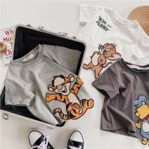 T-shirt White, light gray, dark gray, blue, khaki Other / other 80cm, 90cm, 100cm, 110cm, 120cm, 130cm, half size smaller neutral summer Short sleeve Crew neck leisure time There are models in the real shooting nothing Pure cotton (100% cotton content) Cartoon animation Cotton 100% rr888675 Class A