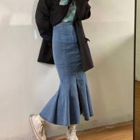 skirt Spring 2021 S,M,L,XL Black, blue longuette commute High waist Denim skirt Solid color Type A 18-24 years old 31% (inclusive) - 50% (inclusive) Denim cotton Zipper, Ruffle 401g / m ^ 2 (inclusive) - 500g / m ^ 2 (inclusive)