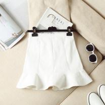 skirt Summer 2021 XS,S,M,L,XL,2XL White, black, yellow Short skirt commute High waist Ruffle Skirt Solid color Type A 18-24 years old More than 95% Denim Ocnltiy cotton Korean version