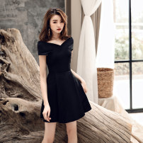 Dress / evening wear Wedding, adulthood, party, company annual meeting, performance, routine, appointment Korean version Short skirt middle-waisted Spring of 2019 Skirt hem One shoulder zipper Rayon 18-25 years old HYS-200 Short sleeve flower Solid color Other / other routine other 96% and above