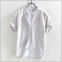 shirt Yereisurpsy Youth fashion routine stand collar Short sleeve easy Other leisure Four seasons R30142 youth Youthful vigor Flax 55% cotton 45% Solid color Linen Non iron treatment Button decoration M,L,XL,2XL,3XL,4XL R16-o-gray, e89-b-white, f27-a-khaki, f61-e-sky blue, u56 navy blue, E34 color Pu