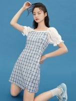 Dress Chiffon Summer 2021 Middle-skirt Short sleeve singleton  Sweet Design and color Doll Collar middle-waisted zipper Princess Dress 30-34 years old routine More than 95% cotton Type X Other Pleating XS,S,M,L