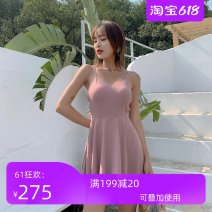 one piece  Solid color Short sleeve female Casual swimsuit With chest pad without steel support kapeka nz Skirt one piece swimsuit LXY-1917 backless M,L,XL Bean paste (no shoes), black (no shoes)