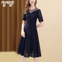 Dress Summer 2021 blue S M L XL XXL Mid length dress singleton  Short sleeve commute Crew neck middle-waisted Solid color zipper A-line skirt routine Others 35-39 years old Type A Mingsi lady Embroidered zipper lace M21S14063 51% (inclusive) - 70% (inclusive) Lace nylon Pure e-commerce (online only)