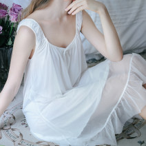 Nightdress Other / other White, pink 155(S),160(M),165(L),170(XL) Sweet camisole pajamas Middle-skirt summer Solid color youth nylon Mesh fabric