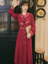 Dress Autumn 2020 claret S,M,L Mid length dress singleton  Long sleeves commute other High waist Solid color zipper A-line skirt shirt sleeve Type A More and more Retro Button, button 31% (inclusive) - 50% (inclusive) other
