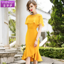 Dress Summer of 2019 Rose red and golden S M L XL 2XL 3XL 4XL Mid length dress singleton  Short sleeve commute Crew neck middle-waisted Solid color zipper Ruffle Skirt Sleeve Others 30-34 years old Type H FX.&Mongyi lady Stitched asymmetric zipper FX8XL16602 More than 95% other polyester fiber