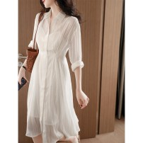 Dress Spring 2021 Pearl white long, pearl white short S,M,L,XL Mid length dress Two piece set three quarter sleeve commute V-neck middle-waisted Solid color Single breasted A-line skirt Sleeve Others Type X Japanese brands Simplicity Dress More than 95% other polyester fiber