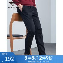 Casual pants Septwolves Fashion City 27A 28A 29A 30A 31A 32A 33A 34A 35A 36A 37A 38A 39A 40A 41A 42A routine trousers go to work Straight cylinder Micro bomb spring middle age Business Casual 2020 Medium low back Straight cylinder Cotton 97.7% polyurethane elastic fiber (spandex) 2.3% Solid color