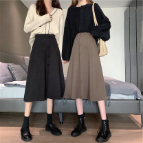 Women's large Winter 2020, autumn 2020 Black, brown Large L, large XL, large XXL, large XXL, large XXXL skirt singleton  commute moderate Solid color Korean version Polyester, cotton Medium length other
