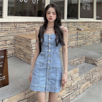 Women's large Summer 2021 blue Large L, large XL, large XXL, large XXL, large XXXL Dress singleton  commute Self cultivation thin Cardigan Korean version other polyester 18-24 years old Short skirt